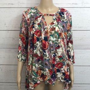 2/$29 JODIFL Floral Hi Low 3/4 sleeves Top